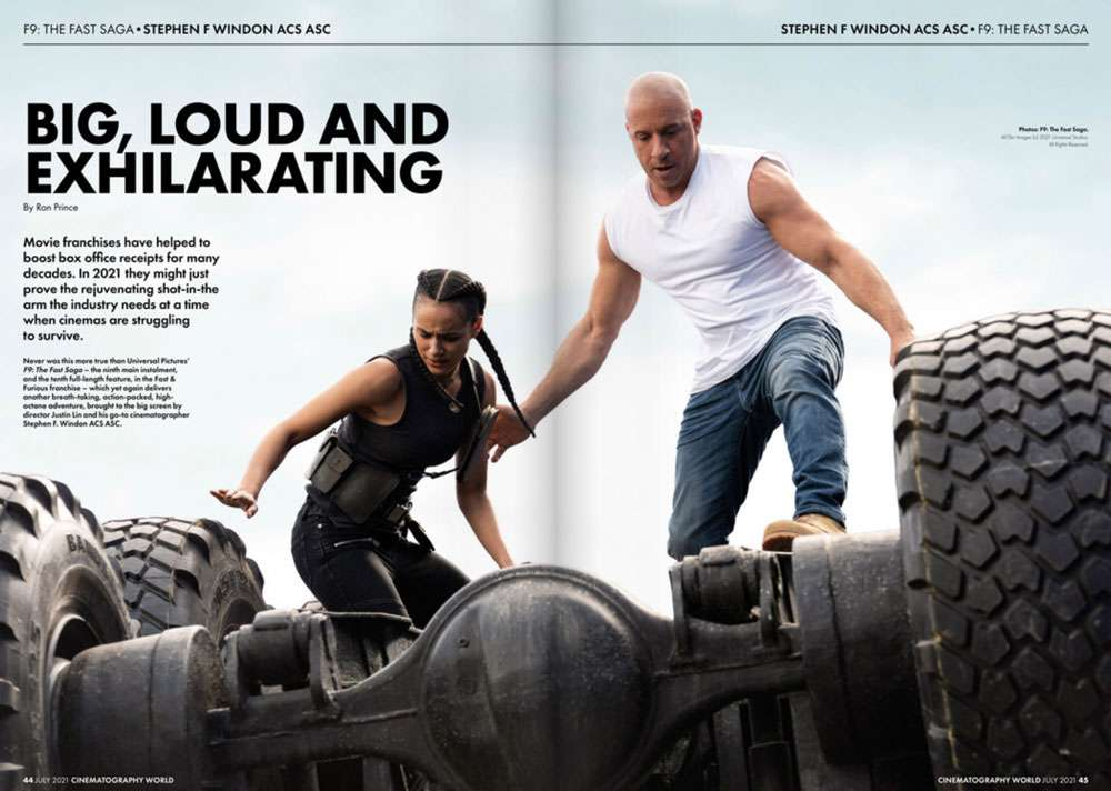 fast and furious 9 feature in cinematogtraphy world magazine