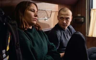 Strangers make connections on a train in Juho Kuosmanen's Compartment No.6, filmed in 2-perf on Kodak 35mm by DP J-P Passi